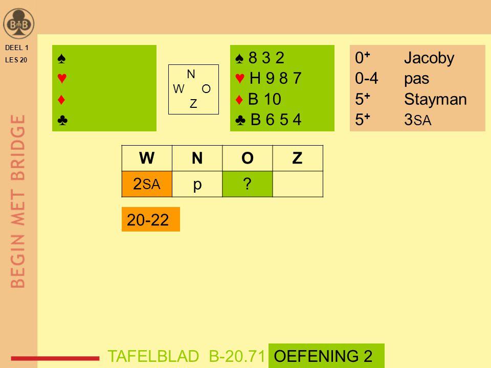 DEEL 1 LES 20 ♠♥♦♣♠♥♦♣ ♠ 8 3 2 ♥ H 9 8 7 ♦ B 10 ♣ B 6 5 4 N W O Z WNOZ 2 SA p.