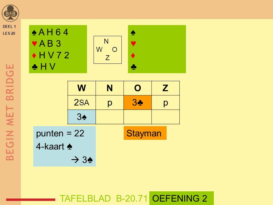 DEEL 1 LES 20 ♠ A H 6 4 ♥ A B 3 ♦ H V 7 2 ♣ H V ♠♥♦♣♠♥♦♣ N W O Z WNOZ 2 SA p3♣p 3♠ punten = 22 4-kaart ♠  3 ♠ TAFELBLAD B-20.71OEFENING 2 Stayman