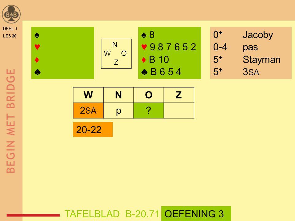 DEEL 1 LES 20 ♠ 8 ♥ 9 8 7 6 5 2 ♦ B 10 ♣ B 6 5 4 N W O Z WNOZ 2 SA p.
