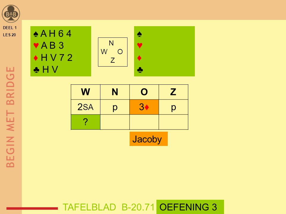 DEEL 1 LES 20 ♠ A H 6 4 ♥ A B 3 ♦ H V 7 2 ♣ H V N W O Z WNOZ 2 SA p3♦3♦p ? TAFELBLAD B-20.71OEFENING 3 Jacoby ♠♥♦♣♠♥♦♣