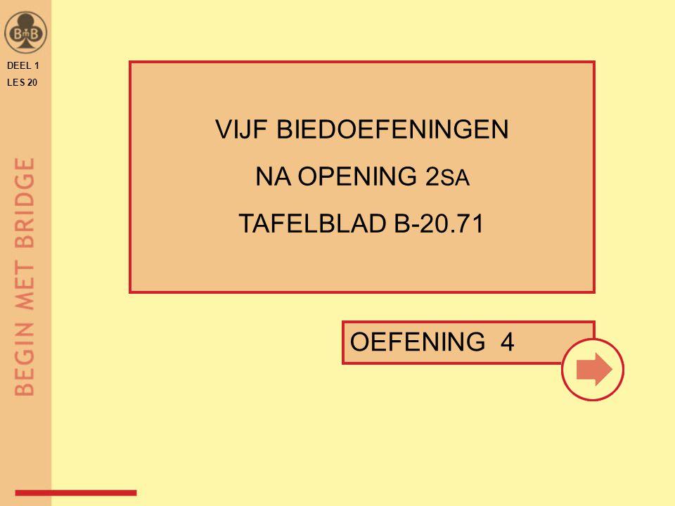 DEEL 1 LES 20 OEFENING 4 VIJF BIEDOEFENINGEN NA OPENING 2 SA TAFELBLAD B-20.71