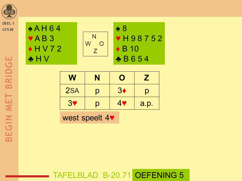DEEL 1 LES 20 ♠ A H 6 4 ♥ A B 3 ♦ H V 7 2 ♣ H V N W O Z WNOZ 2 SA p3♦3♦p 3♥3♥p4♥4♥a.p.