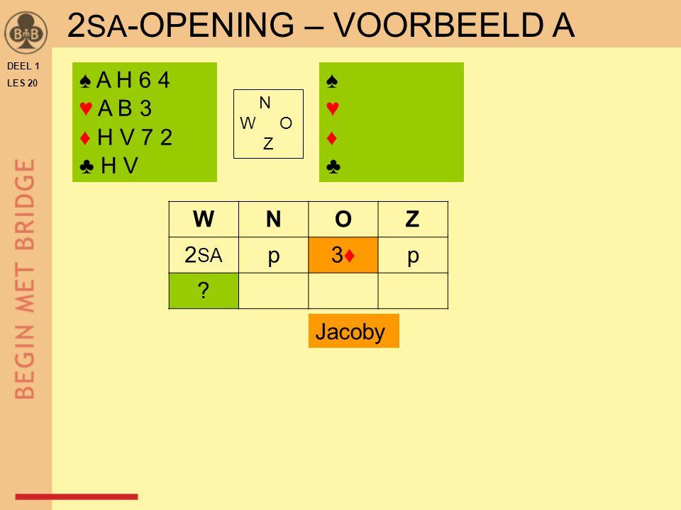 DEEL 1 LES 20 ♠ A H 6 4 ♥ A B 3 ♦ H V 7 2 ♣ H V N W O Z WNOZ 2 SA p3♦3♦p .