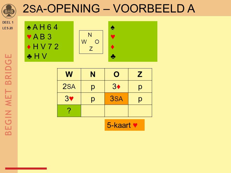 DEEL 1 LES 20 ♠ A H 6 4 ♥ A B 3 ♦ H V 7 2 ♣ H V N W O Z WNOZ 2 SA p3♦3♦p 3♥3♥p3 SA p .