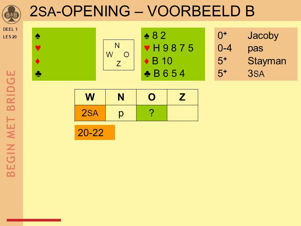 DEEL 1 LES 20 2 SA -OPENING – VOORBEELD B ♠ 8 2 ♥ H 9 8 7 5 ♦ B 10 ♣ B 6 5 4 N W O Z WNOZ 2 SA p.