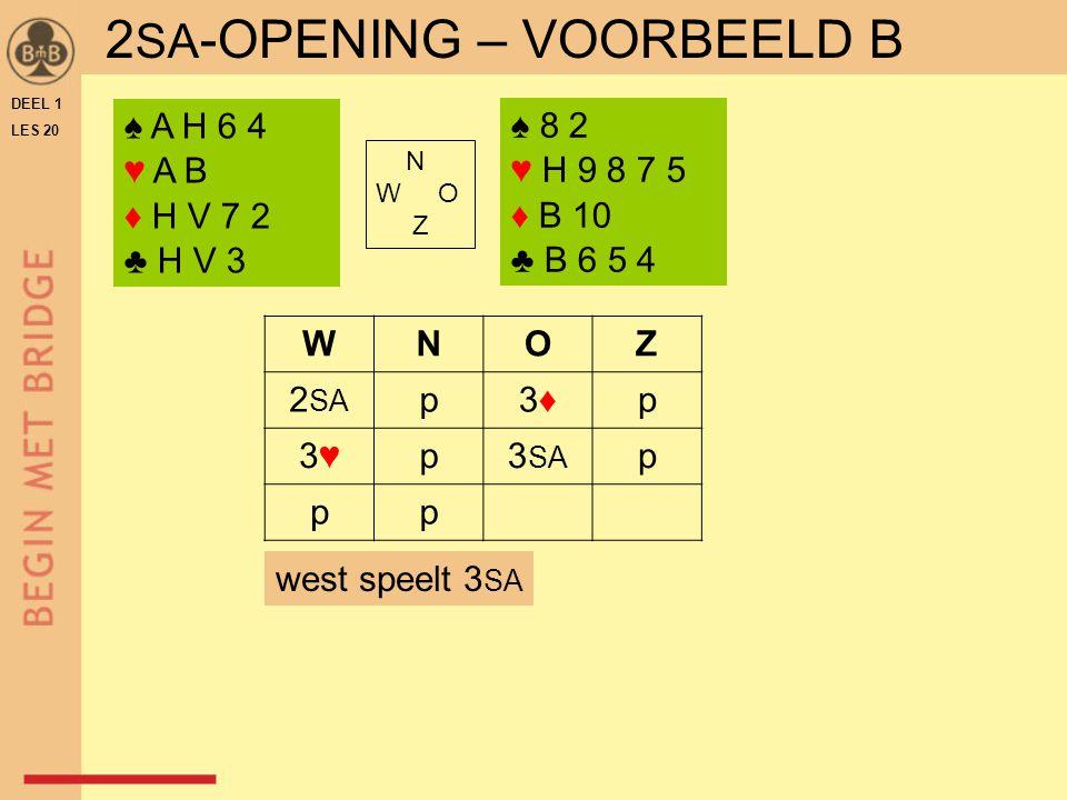 DEEL 1 LES 20 N W O Z WNOZ 2 SA p3♦3♦p 3♥3♥p3 SA p pp ♠ 8 2 ♥ H 9 8 7 5 ♦ B 10 ♣ B 6 5 4 west speelt 3 SA 2 SA -OPENING – VOORBEELD B ♠ A H 6 4 ♥ A B ♦ H V 7 2 ♣ H V 3