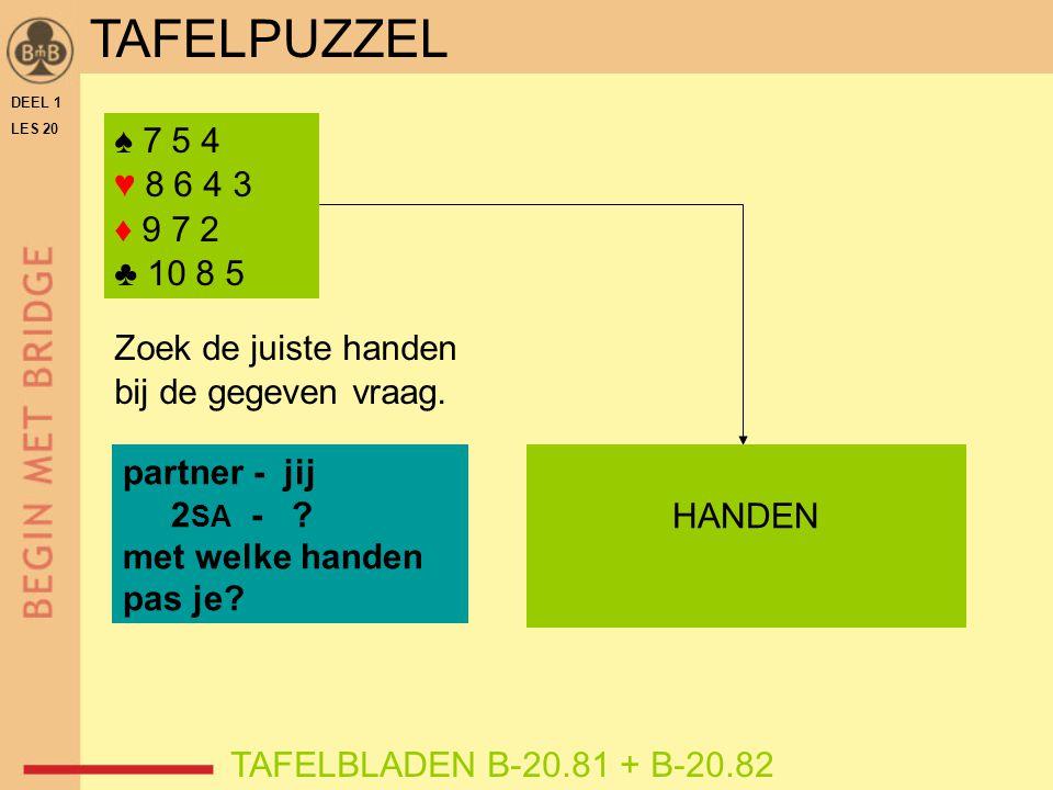 DEEL 1 LES 20 ♠ 7 5 4 ♥ 8 6 4 3 ♦ 9 7 2 ♣ 10 8 5 TAFELBLADEN B-20.81 + B-20.82 Zoek de juiste handen bij de gegeven vraag.