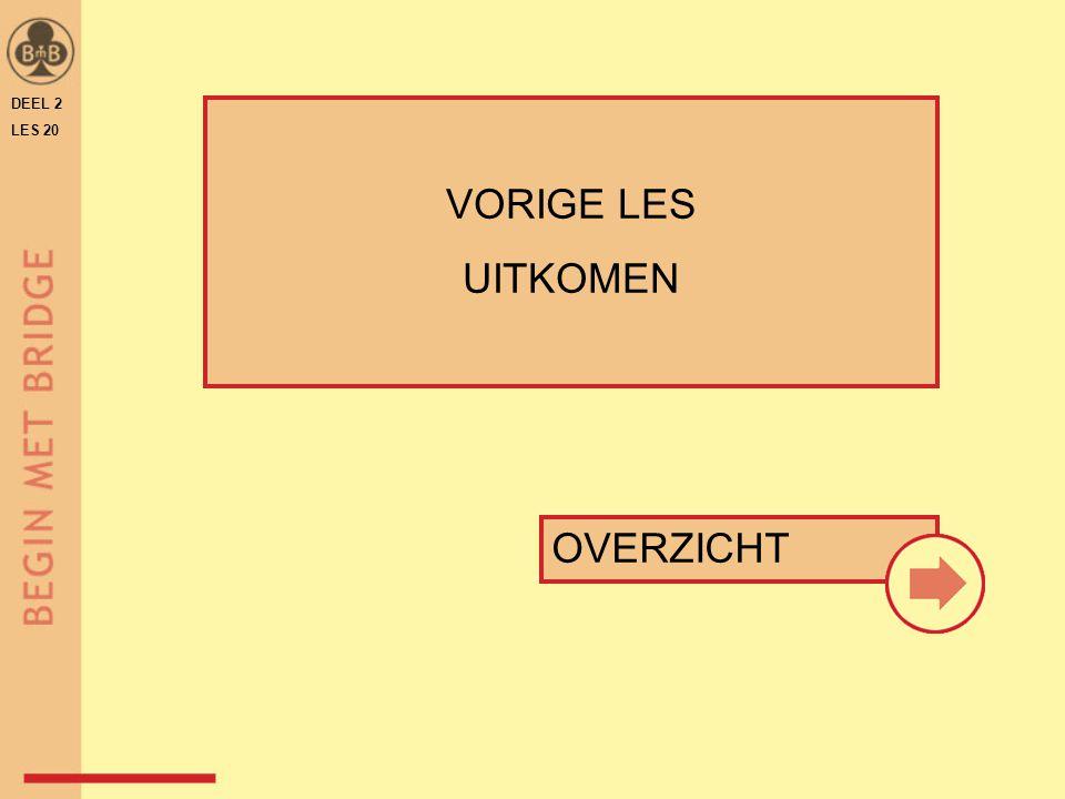 DEEL 2 LES 20 ♠ H V 10 64 W O ♠ A 9 5  ♠9 ♠ H V 10 6♠ A B 5 ♠ 8 5 3♠ H V 10 6 W O  ♠B  ♠3 afsignaleren 5 6 is het signaal wel nodig.