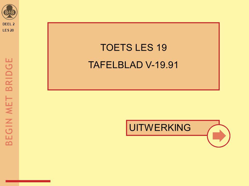 DEEL 2 LES 20 ♠ V B 10 8 7 ♠ H 6 5 4 ♠ 3 2 ♠ A 9 N W O Z daarom neemt oost met ♠A en speelt ♠9 terug west neemt over met ♠10  noord maakt ♠H als west later aan slag komt, zijn de ♠ wel vrij.