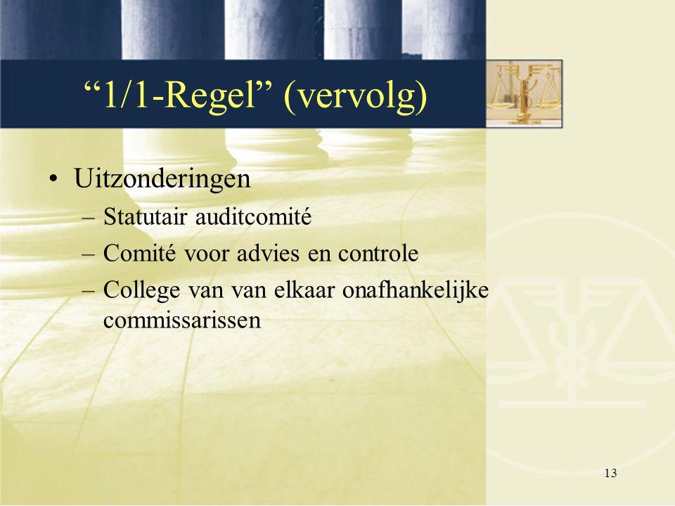 """13 Uitzonderingen –Statutair auditcomité –Comité voor advies en controle –College van van elkaar onafhankelijke commissarissen """"1/1-Regel"""" (vervolg)"""