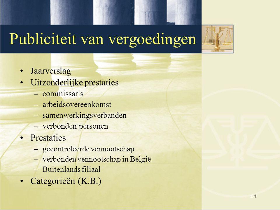 14 Jaarverslag Uitzonderlijke prestaties –commissaris –arbeidsovereenkomst –samenwerkingsverbanden –verbonden personen Prestaties –gecontroleerde venn