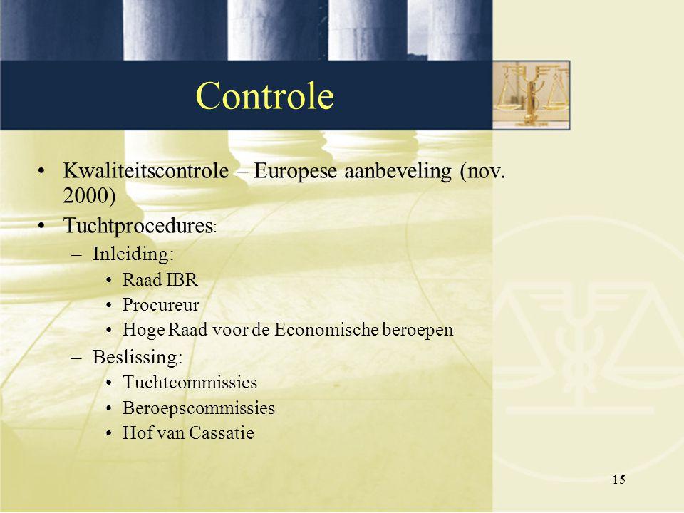 15 Kwaliteitscontrole – Europese aanbeveling (nov. 2000) Tuchtprocedures : –Inleiding: Raad IBR Procureur Hoge Raad voor de Economische beroepen –Besl
