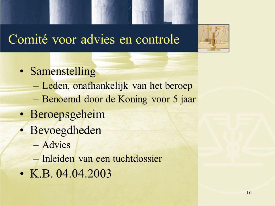 16 Samenstelling –Leden, onafhankelijk van het beroep –Benoemd door de Koning voor 5 jaar Beroepsgeheim Bevoegdheden –Advies –Inleiden van een tuchtdo
