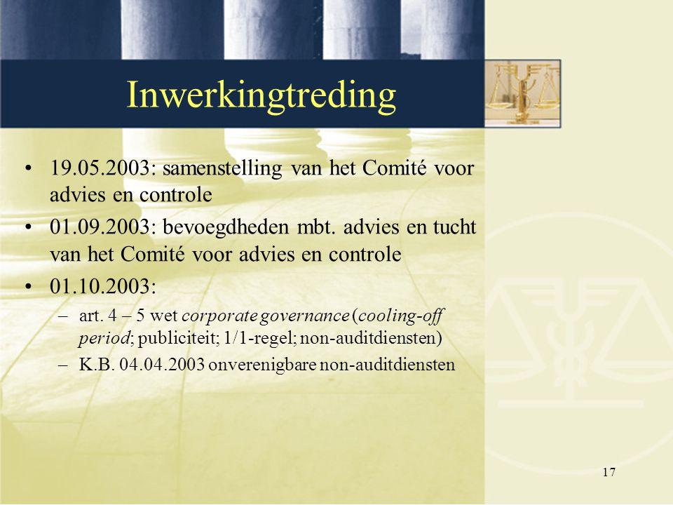 17 19.05.2003: samenstelling van het Comité voor advies en controle 01.09.2003: bevoegdheden mbt. advies en tucht van het Comité voor advies en contro