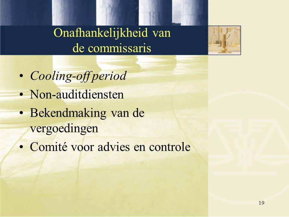 19 Cooling-off period Non-auditdiensten Bekendmaking van de vergoedingen Comité voor advies en controle Onafhankelijkheid van de commissaris