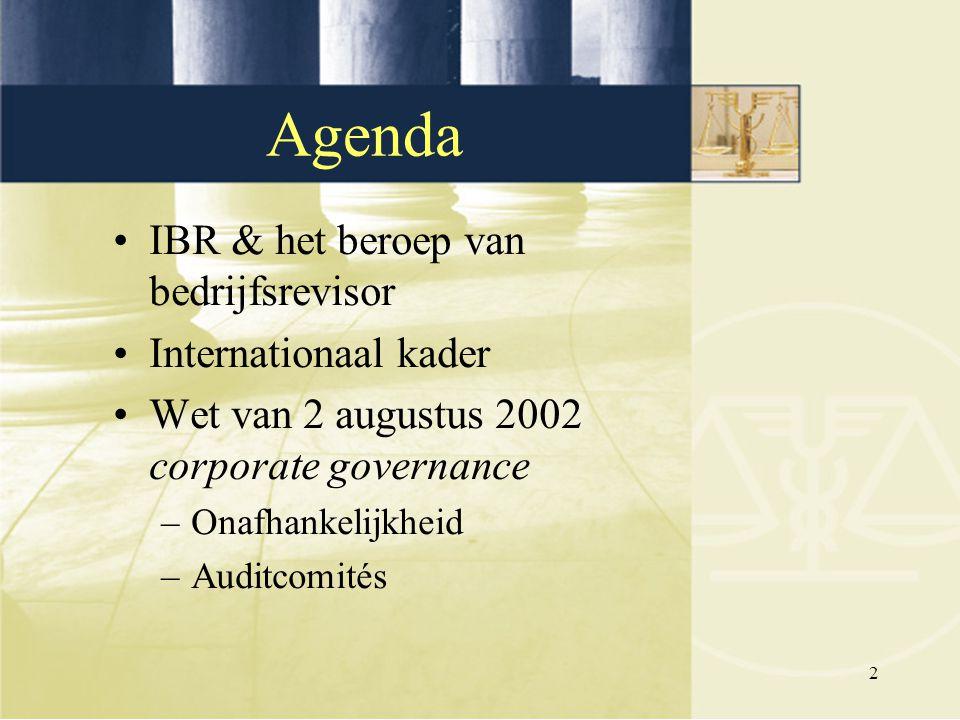 2 Agenda IBR & het beroep van bedrijfsrevisor Internationaal kader Wet van 2 augustus 2002 corporate governance –Onafhankelijkheid –Auditcomités