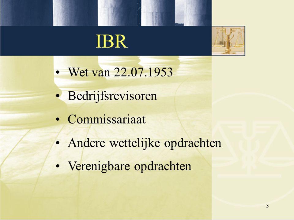 3 IBR Wet van 22.07.1953 Bedrijfsrevisoren Commissariaat Andere wettelijke opdrachten Verenigbare opdrachten