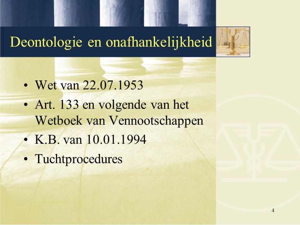 4 Deontologie en onafhankelijkheid Wet van 22.07.1953 Art. 133 en volgende van het Wetboek van Vennootschappen K.B. van 10.01.1994 Tuchtprocedures