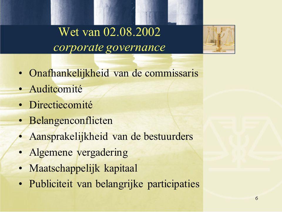 6 Onafhankelijkheid van de commissaris Auditcomité Directiecomité Belangenconflicten Aansprakelijkheid van de bestuurders Algemene vergadering Maatsch
