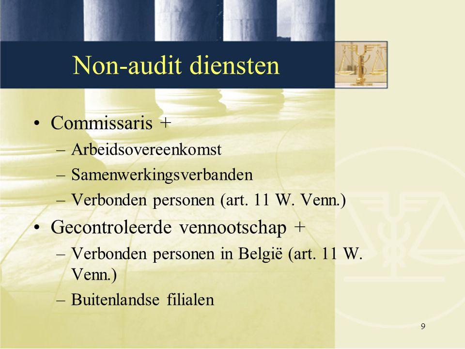 9 Commissaris + –Arbeidsovereenkomst –Samenwerkingsverbanden –Verbonden personen (art. 11 W. Venn.) Gecontroleerde vennootschap + –Verbonden personen