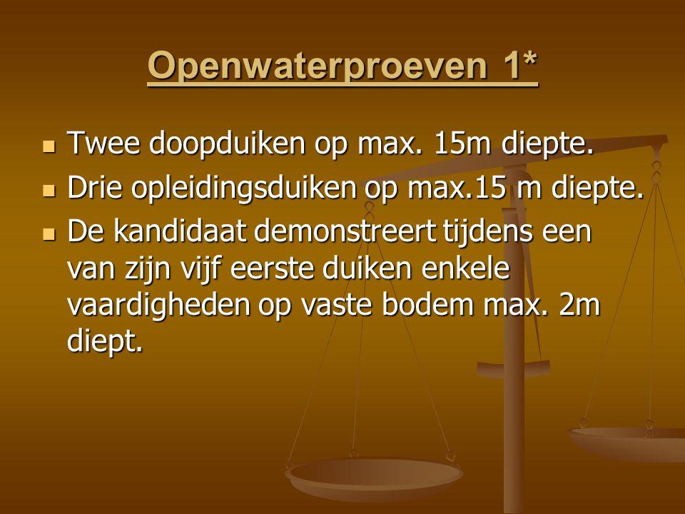 Openwaterproeven 1* Twee doopduiken op max.15m diepte.
