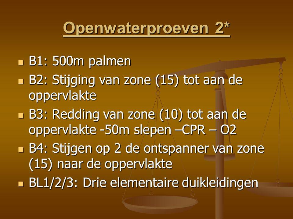 Openwaterproeven 2* B1: 500m palmen B1: 500m palmen B2: Stijging van zone (15) tot aan de oppervlakte B2: Stijging van zone (15) tot aan de oppervlakte B3: Redding van zone (10) tot aan de oppervlakte -50m slepen –CPR – O2 B3: Redding van zone (10) tot aan de oppervlakte -50m slepen –CPR – O2 B4: Stijgen op 2 de ontspanner van zone (15) naar de oppervlakte B4: Stijgen op 2 de ontspanner van zone (15) naar de oppervlakte BL1/2/3: Drie elementaire duikleidingen BL1/2/3: Drie elementaire duikleidingen