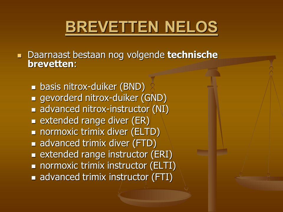 BREVETTEN NELOS Daarnaast bestaan nog volgende technische brevetten: Daarnaast bestaan nog volgende technische brevetten: basis nitrox-duiker (BND) basis nitrox-duiker (BND) gevorderd nitrox-duiker (GND) gevorderd nitrox-duiker (GND) advanced nitrox-instructor (NI) advanced nitrox-instructor (NI) extended range diver (ER) extended range diver (ER) normoxic trimix diver (ELTD) normoxic trimix diver (ELTD) advanced trimix diver (FTD) advanced trimix diver (FTD) extended range instructor (ERI) extended range instructor (ERI) normoxic trimix instructor (ELTI) normoxic trimix instructor (ELTI) advanced trimix instructor (FTI) advanced trimix instructor (FTI)