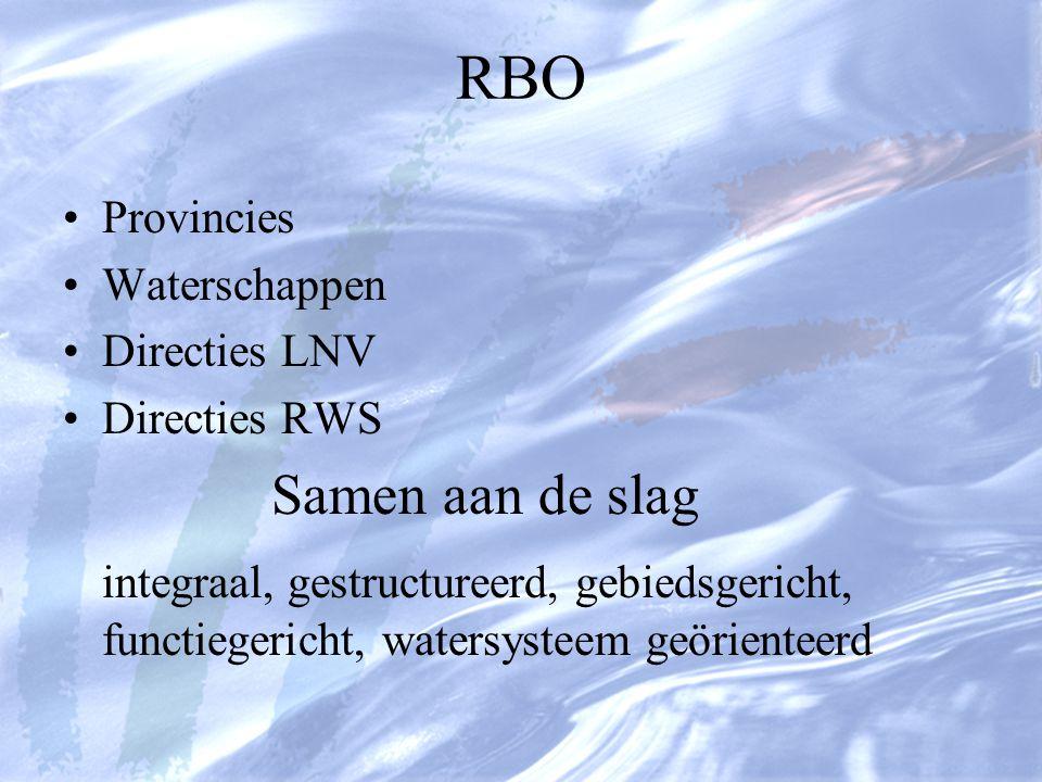RBO Provincies Waterschappen Directies LNV Directies RWS Samen aan de slag integraal, gestructureerd, gebiedsgericht, functiegericht, watersysteem geörienteerd