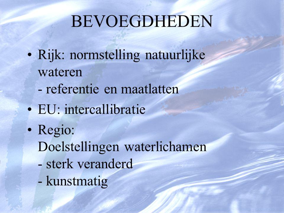 BEVOEGDHEDEN Rijk: normstelling natuurlijke wateren - referentie en maatlatten EU: intercallibratie Regio: Doelstellingen waterlichamen - sterk verand