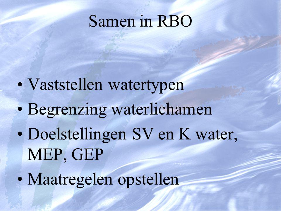 Samen in RBO Vaststellen watertypen Begrenzing waterlichamen Doelstellingen SV en K water, MEP, GEP Maatregelen opstellen