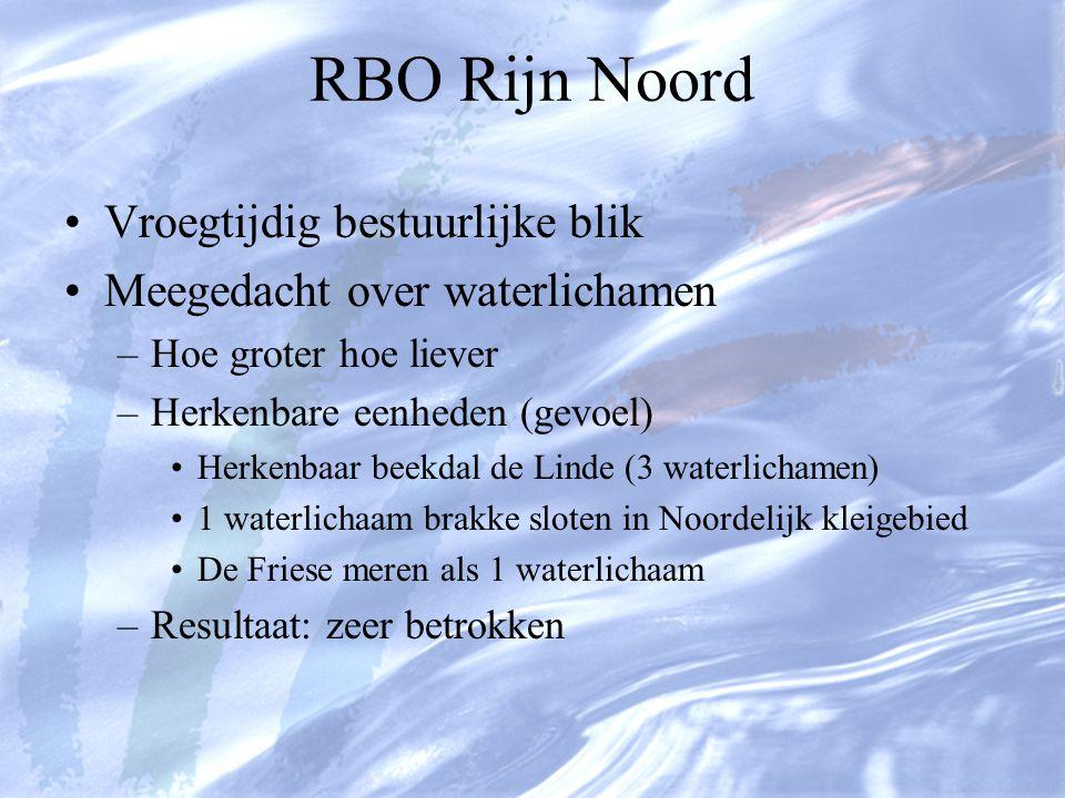 RBO Rijn Noord Vroegtijdig bestuurlijke blik Meegedacht over waterlichamen –Hoe groter hoe liever –Herkenbare eenheden (gevoel) Herkenbaar beekdal de