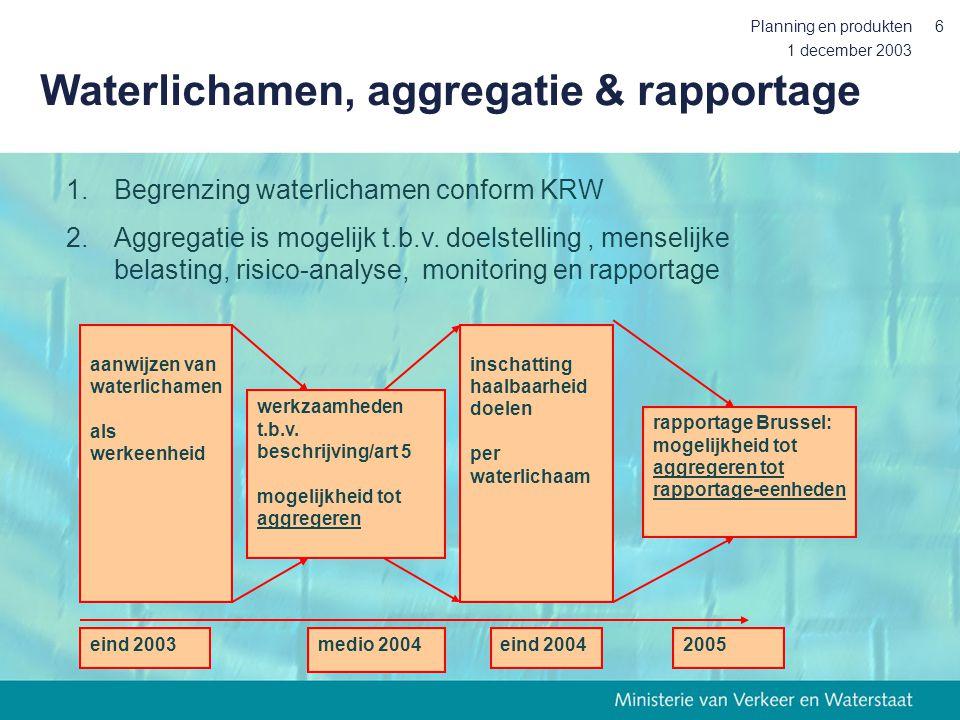 1 december 2003 Planning en produkten6 Waterlichamen, aggregatie & rapportage 2005 aanwijzen van waterlichamen als werkeenheid werkzaamheden t.b.v. be