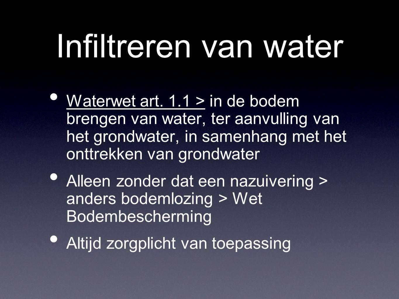 Infiltreren van water Waterwet art. 1.1 > in de bodem brengen van water, ter aanvulling van het grondwater, in samenhang met het onttrekken van grondw