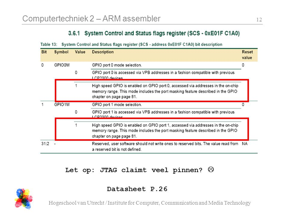 Computertechniek 2 – ARM assembler Hogeschool van Utrecht / Institute for Computer, Communication and Media Technology 12 Datasheet P.26 Let op: JTAG claimt veel pinnen.