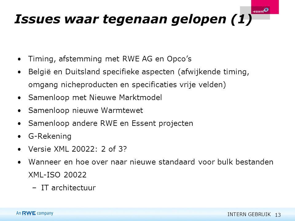 INTERN GEBRUIK 13 Issues waar tegenaan gelopen (1) Timing, afstemming met RWE AG en Opco's België en Duitsland specifieke aspecten (afwijkende timing,