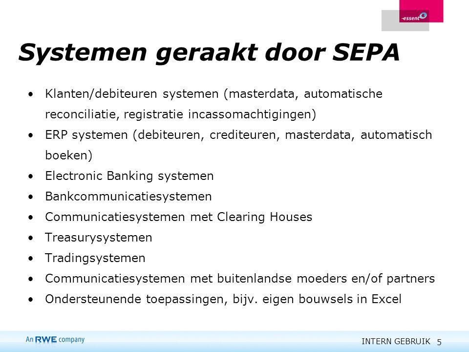 INTERN GEBRUIK 5 Systemen geraakt door SEPA Klanten/debiteuren systemen (masterdata, automatische reconciliatie, registratie incassomachtigingen) ERP