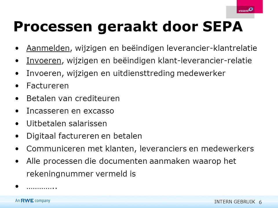 INTERN GEBRUIK 6 Processen geraakt door SEPA Aanmelden, wijzigen en beëindigen leverancier-klantrelatie Invoeren, wijzigen en beëindigen klant-leveran