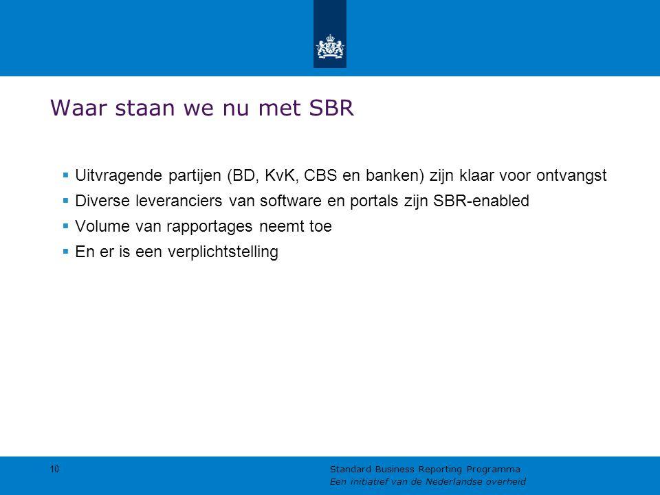 Waar staan we nu met SBR  Uitvragende partijen (BD, KvK, CBS en banken) zijn klaar voor ontvangst  Diverse leveranciers van software en portals zijn SBR-enabled  Volume van rapportages neemt toe  En er is een verplichtstelling 10 Standard Business Reporting Programma Een initiatief van de Nederlandse overheid