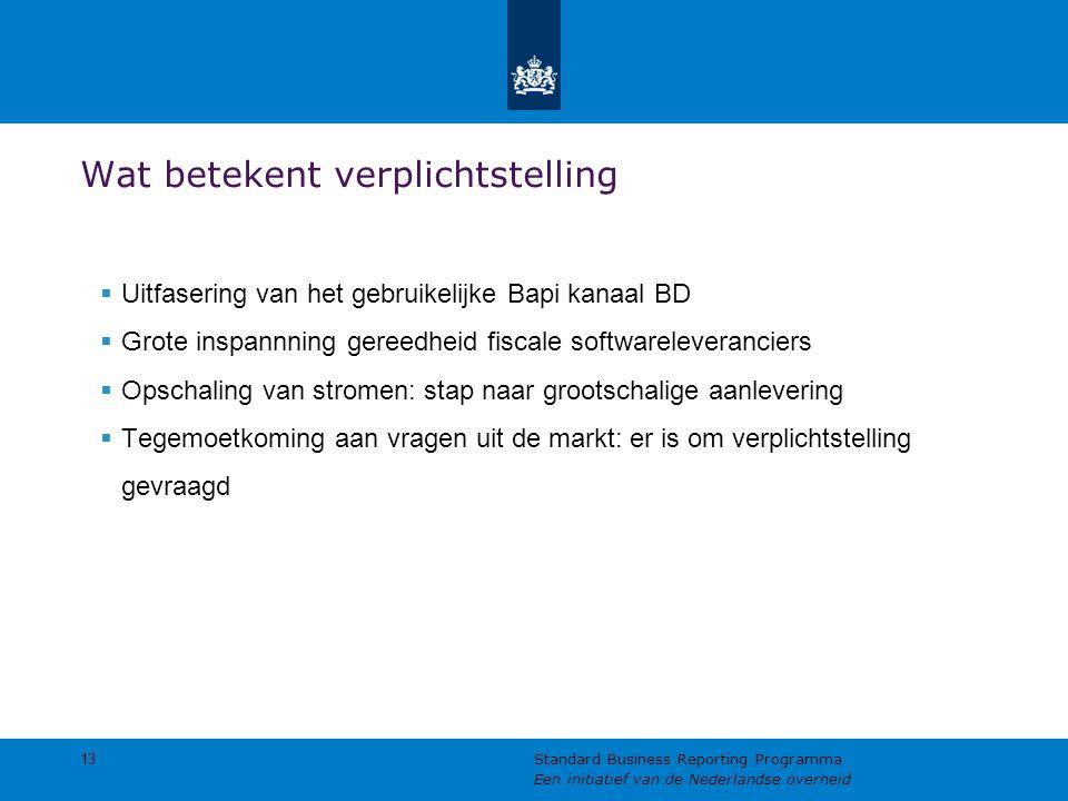Wat betekent verplichtstelling  Uitfasering van het gebruikelijke Bapi kanaal BD  Grote inspannning gereedheid fiscale softwareleveranciers  Opschaling van stromen: stap naar grootschalige aanlevering  Tegemoetkoming aan vragen uit de markt: er is om verplichtstelling gevraagd 13 Standard Business Reporting Programma Een initiatief van de Nederlandse overheid