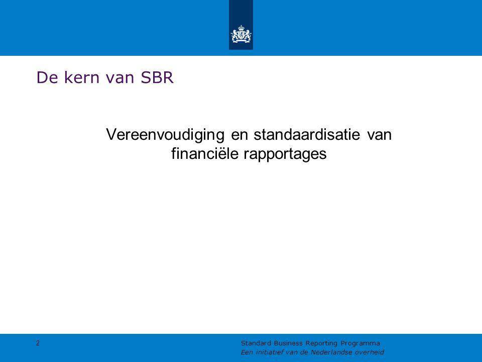 De kern van SBR Vereenvoudiging en standaardisatie van financiële rapportages 2 Standard Business Reporting Programma Een initiatief van de Nederlandse overheid