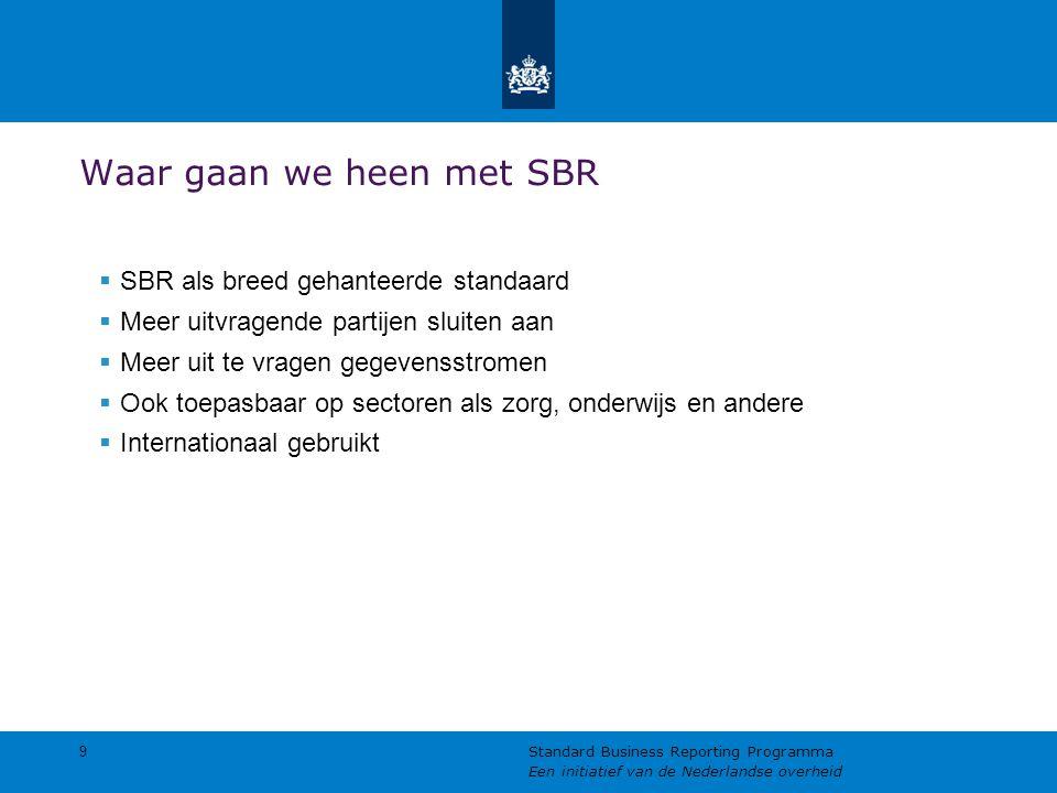 Waar gaan we heen met SBR  SBR als breed gehanteerde standaard  Meer uitvragende partijen sluiten aan  Meer uit te vragen gegevensstromen  Ook toepasbaar op sectoren als zorg, onderwijs en andere  Internationaal gebruikt 9 Standard Business Reporting Programma Een initiatief van de Nederlandse overheid