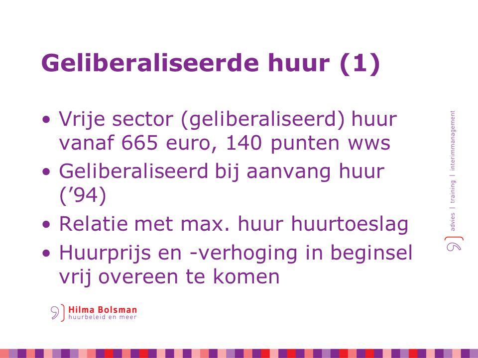 Huurliberalisatie (2) Uitzonderingen op vrije overeenkomst: –Toetsing aanvangshuur –1x per jaar huurverhoging –Bepalingen over servicekosten Tijdens de huur: –geliberaliseerd blijft geliberaliseerd –maar ook: sociaal blijft sociaal