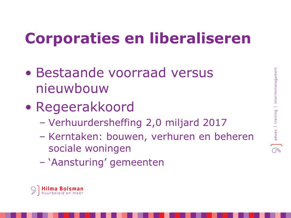 Corporaties en liberaliseren Bestaande voorraad versus nieuwbouw Regeerakkoord –Verhuurdersheffing 2,0 miljard 2017 –Kerntaken: bouwen, verhuren en beheren sociale woningen –'Aansturing' gemeenten