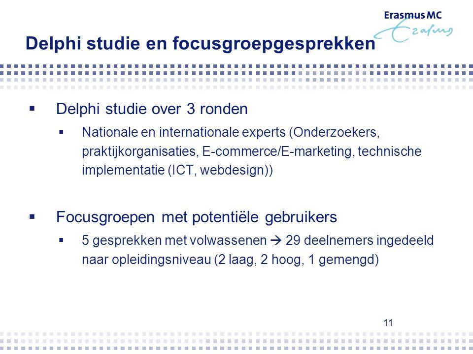 11 Delphi studie en focusgroepgesprekken  Delphi studie over 3 ronden  Nationale en internationale experts (Onderzoekers, praktijkorganisaties, E-co
