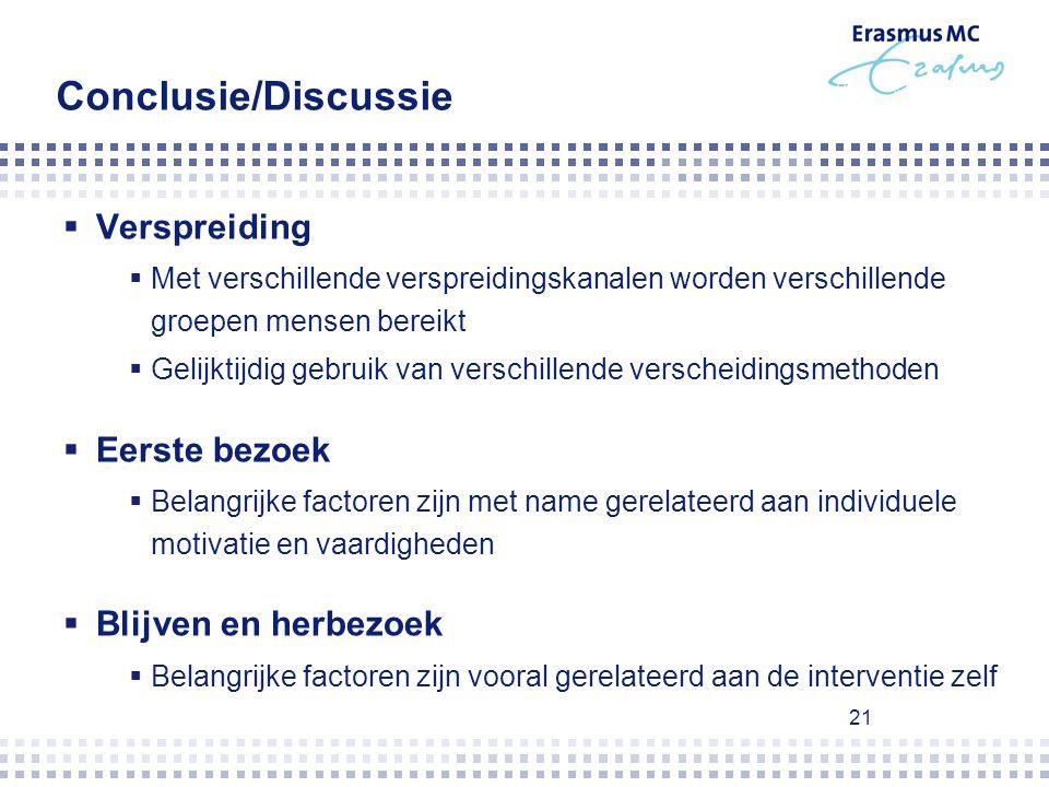 21 Conclusie/Discussie  Verspreiding  Met verschillende verspreidingskanalen worden verschillende groepen mensen bereikt  Gelijktijdig gebruik van
