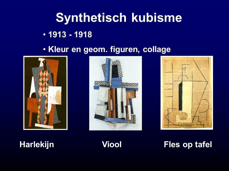 Synthetisch kubisme Harlekijn Viool Fles op tafel 1913 - 1918 Kleur en geom. figuren, collage