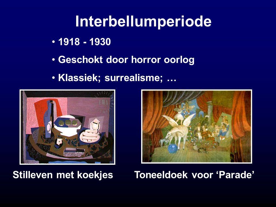 Interbellumperiode Stilleven met koekjes Toneeldoek voor 'Parade' 1918 - 1930 Geschokt door horror oorlog Klassiek; surrealisme; …