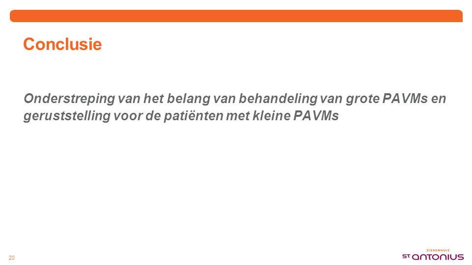 Conclusie Onderstreping van het belang van behandeling van grote PAVMs en geruststelling voor de patiënten met kleine PAVMs 20