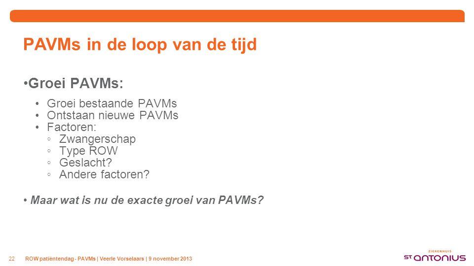 PAVMs in de loop van de tijd Groei PAVMs: Groei bestaande PAVMs Ontstaan nieuwe PAVMs Factoren: ◦Zwangerschap ◦Type ROW ◦Geslacht? ◦Andere factoren? M