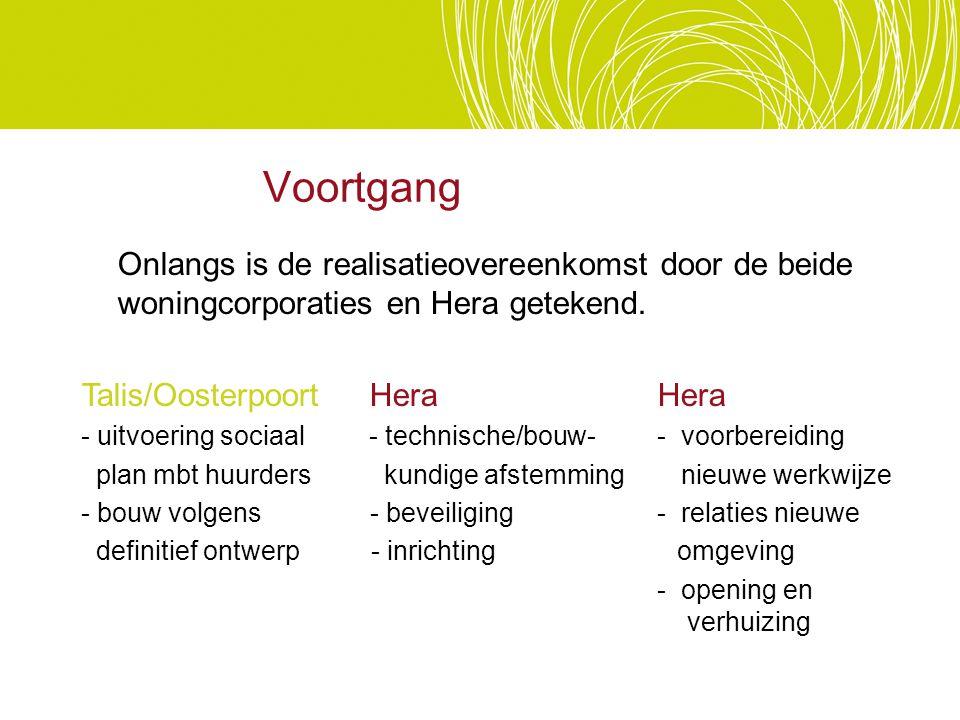 Voortgang Onlangs is de realisatieovereenkomst door de beide woningcorporaties en Hera getekend. Talis/OosterpoortHera Hera - uitvoering sociaal- tech